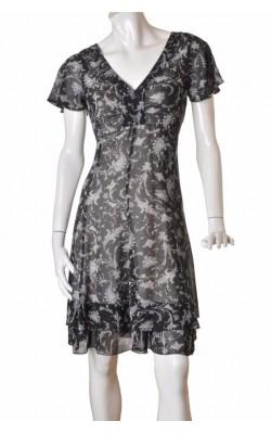 Rochie chiffon negru print floral Tara, marime 40