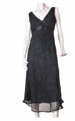 Rochie chiffon negru print verde Lindex, marime 40