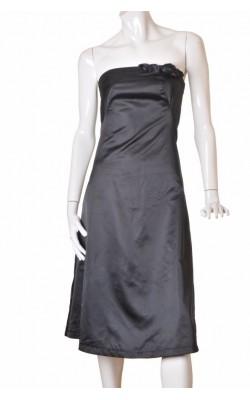 Rochie neagra satin Vero Moda, trandafir decor, marime 38