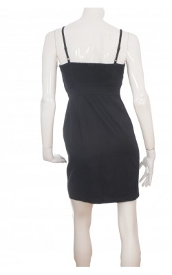 Rochie neagra stretch panou plisat alb H&M, marime 38