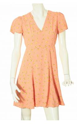 Rochie oranj cu print floral Tine Mollat by Ti Mo, marime 36