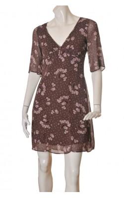 Rochie print floral roz pal H&M, marime 38