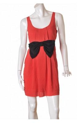 Rochie rosie cu buline albe H&M, chiffon, marime 42