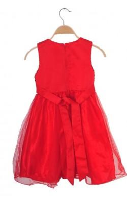 Rochie rosie cu paiete si tulle, 8 ani