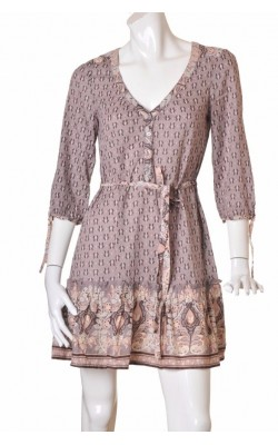 Rochie taupe din bumbac H&M, marime 38