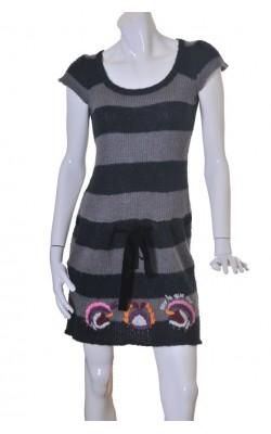 Rochie tricotata Desigual, cordon catifea, marime M