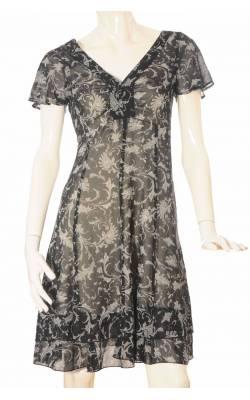 Rochie voal negru cu imprimeu alb si gri Tara, marime 38