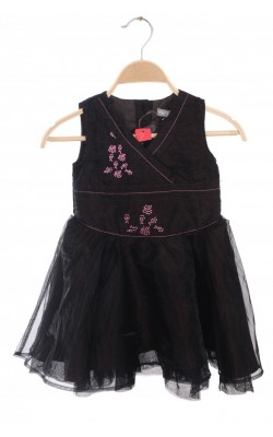 Rochita chiffon si satin Kids-Up, broderie roz, 2 ani