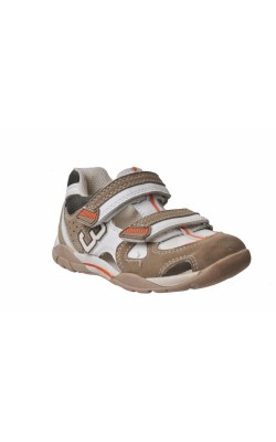 Sandale albe cu bej semi-inchise Bobbi Shoes, marime 24