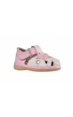 Sandale albe cu flori roz, marime 18