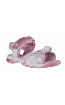Sandale albe cu inimioare roz, marime 29.5