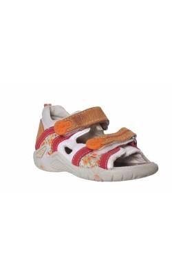 Sandale albe cu oranj si rosu Bama, marime 24