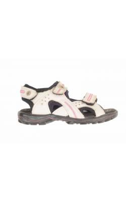Sandale albe din piele Ecco Light, marime 29