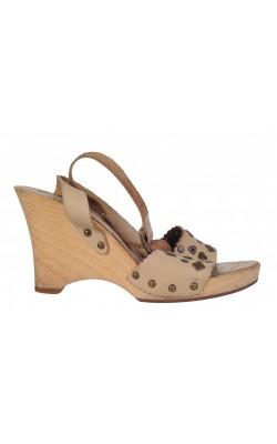 Sandale bej cu platforma Mango, piele, marime 38, calapod lat