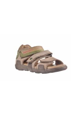 Sandale bej cu verde Elefanten, piele, marime 21