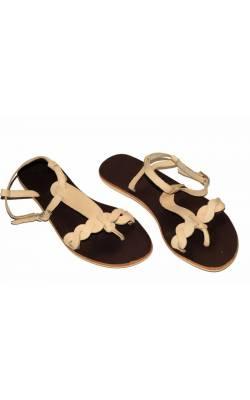 Sandale bej din piele Pieces, marime 40
