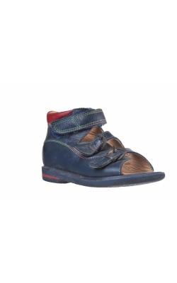 Sandale bleumarin cu rosu din piele naturala, marime 26