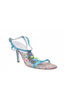 Sandale Bourne, satin si margele multicolore, marime 41