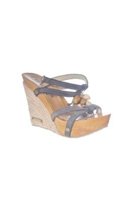 Sandale din piele Prativerdi, talpa lemn, marime 37