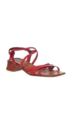 Sandale rosii din piele naturala Star Group, marime 37