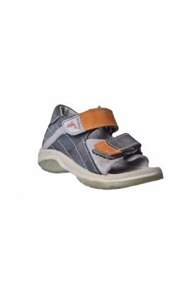 Sandale gri cu oranj Twisty, piele naturala, marime 24