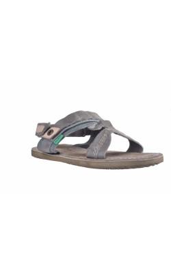 Sandale gri din piele Kickers, marime 34