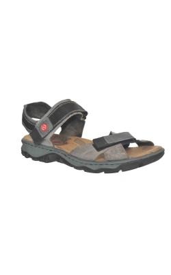 Sandale gri din piele naturala Rieker, marime 41
