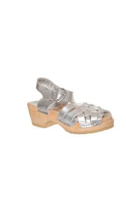 Sandale H&M, piele argintie, marime 24.5