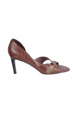 Sandale maro Ralph Lauren, piele stantata, marime 37.5