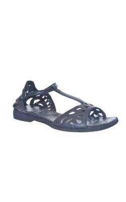 Sandale negre din piele John May, marime 36