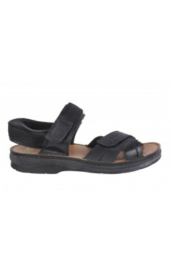 Sandale negre Rieker, piele, latime ajustabila, marime 37