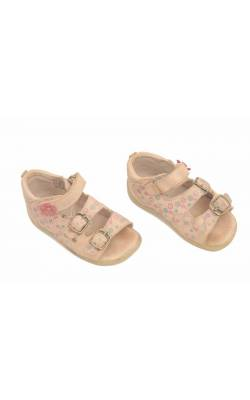 Sandale piele bej cu print floral Bama, marime 24