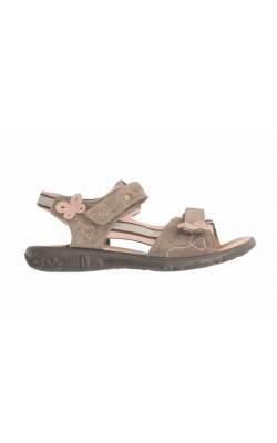 Sandale piele gri cu fluturi roz Ricosta, marime 29