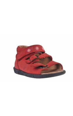 Sandale piele rosie cu flori Bundgaard, marime 22