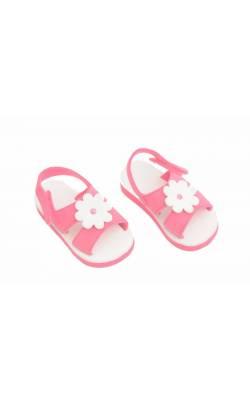 Sandale roz cu flori albe decor, marime 20