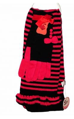 Set fular cu manusi So Real So Right, negru cu roz