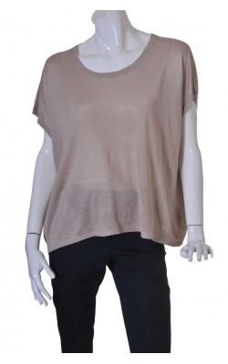 Top bej tricot fin H&M, croi supradimensionat, marime XL
