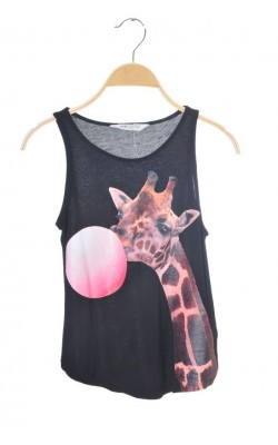 Top negru cu girafa H&M, 10-12 ani