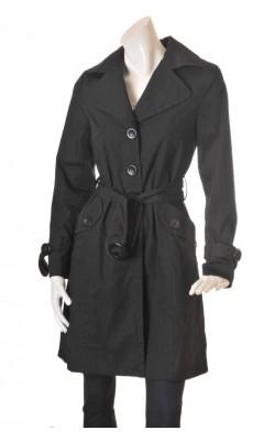 Trenci negru H&M, captuseala neagra cu buline albe, marime 40