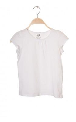 Tricou alb bumbac organic H&M, 6-8 ani