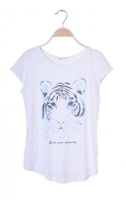 Tricou alb cu imprimeu tigru H&M, 12-13 ani