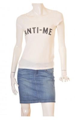 Tricou alb cu imprimeu Vero Moda, marime XS
