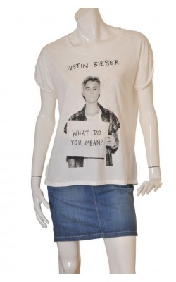 Tricou alb H&M Justin Bieber, marime M