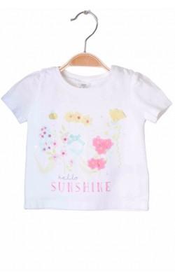 Tricou alb imprimeu floral F&F, 1-3 luni, 6.5 kg