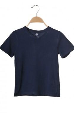 Tricou bleumarin H&M, bumbac organic, 6-8 ani