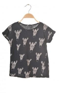 Tricou cu zebre Kids by Lindex, croi supradimensionat, 9-10 ani