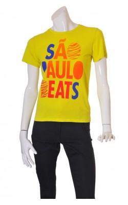 Tricou galben cu imprimeu H&M, marime M