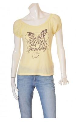 Tricou galben cu imprimeu Review, marime L