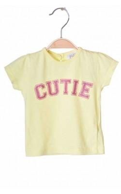 Tricou galben imprimeu roz F&F, 1-3 luni