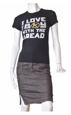 Tricou negru cu imprimeu American Apparel, marime S